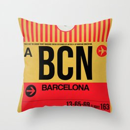 BCN Barcelona Luggage Tag 1 Throw Pillow