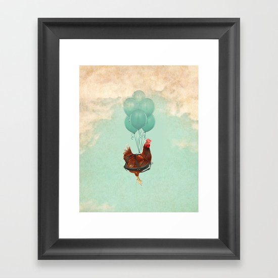 """Chickens can't fly (""""The sky is falling!"""") Framed Art Print"""