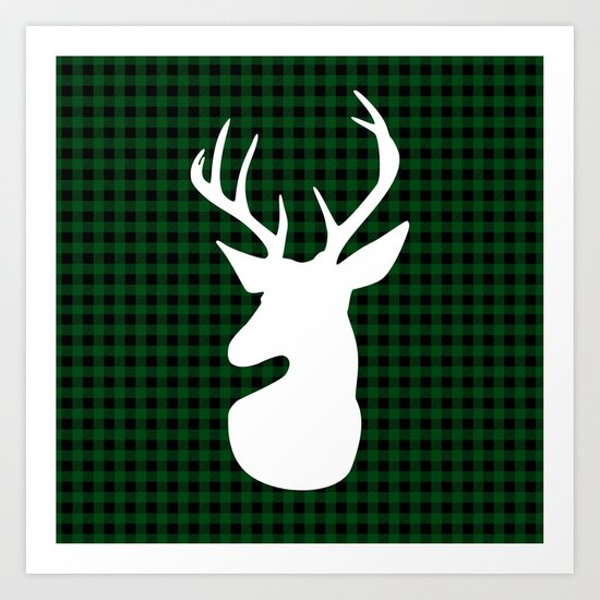 Elegant Green Plaid Deer Design Art Print