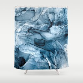 Churning Blue Ocean Waves Abstract Painting Shower Curtain