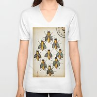 medieval V-neck T-shirts featuring Medieval Swarm by Vintage Avenue