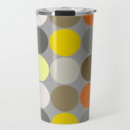 Mid-Century Giant Dots, Gray, Gold and Orange Travel Mug