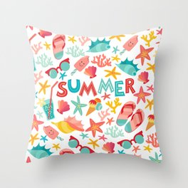 Summer seamless pattern with ice-cream, suglases, cocktail,  starfish, coral, flip flop sandals. Vac Throw Pillow