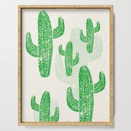 Linocut Cacti Green Serving Tray