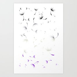Dandelion Seeds Asexual Pride (white background) Art Print