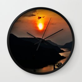 Sunset and the river Wall Clock