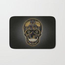 Skull Yellow | Tessellating Skulls Pattern | M. C. Escher Inspired Geometric Artwork by Tessellation Bath Mat