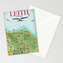 Leith Scotland travel map. Stationery Cards
