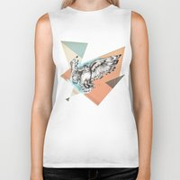 mcfly Biker Tanks featuring Owl McFly by carographic by carographic watercolor portraits
