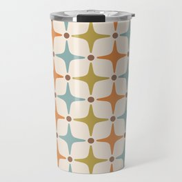 Mid Century Modern Star Pattern 817 Orange Brown Blue and Olive Green Travel Mug