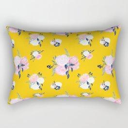 Spring Florals on Mustard Yellow Rectangular Pillow