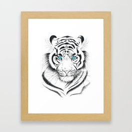 White Bengal tiger Blue Eyes Ink Art Framed Art Print