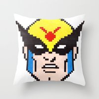 birdman Throw Pillows featuring birdman by Walter Melon