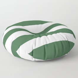 Hunter green -  solid color - white stripes pattern Floor Pillow