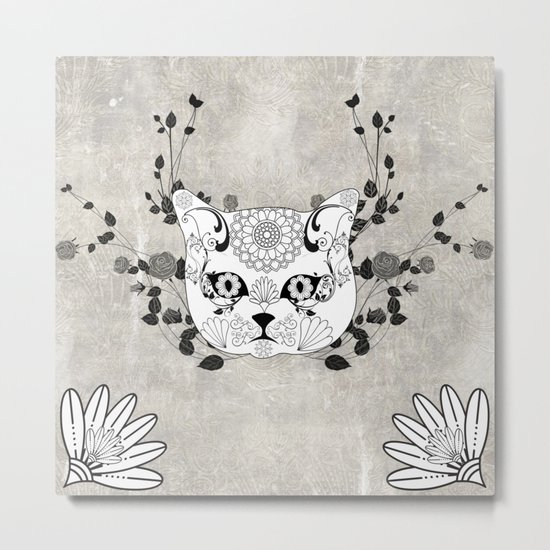 Wonderful sugar cat skull Metal Print