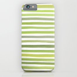 Green Watercolor Paint Lines iPhone Case