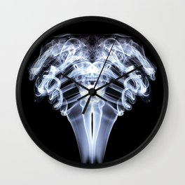 Smoke Ram-White on Black Wall Clock