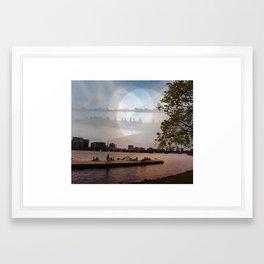 Charles River, Boston, MA. Multiple Exposure. Framed Art Print
