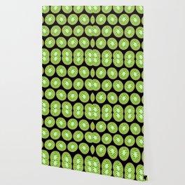 Kiwi Pattern     Black Background Wallpaper