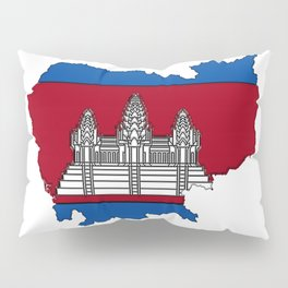 Cambodia Map with Cambodian Flag Pillow Sham