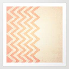 Orange Textured Chevron Art Print