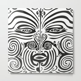 Maori Moko | Tribal Tattoo | New Zealand | Black and White Metal Print