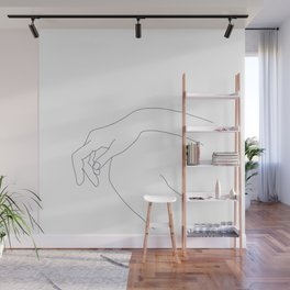Hand on knee black and white illustration - Ana Wall Mural