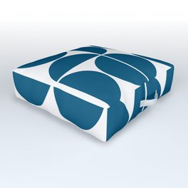 Mid Century Modern Geometric 04 Blue Outdoor Floor Cushion