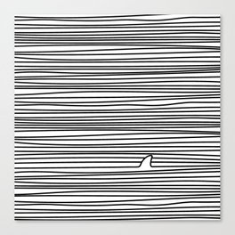 Minimal Line Drawing Simple Unique Shark Fin Gift Canvas Print