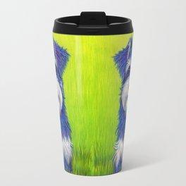 Colorful Miniature Schnauzer Dog Pet Portrait Travel Mug