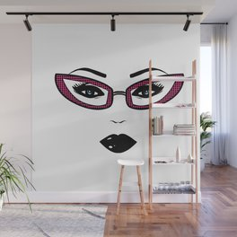 Pretty face,gothic make up,glasses Wall Mural