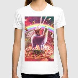 Laser Eyes Outer Space Dragon Riding Llama Unicorn T-shirt
