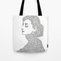 hepburn Tote Bags featuring Audrey Hepburn by S. L. Fina