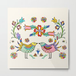 Papel Picado Birds Metal Print