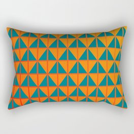 fiery triangle pattern in teal orange and red Rectangular Pillow