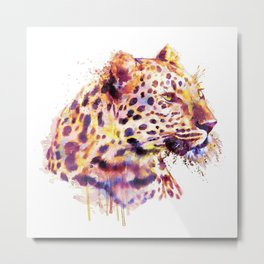 Leopard Head Metal Print