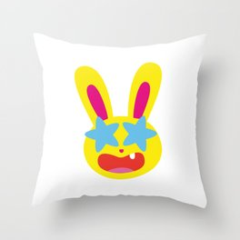 One Tooth Rabbit Emoticons Star Struck Throw Pillow