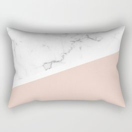 White Marble Pale Dogwood Rectangular Pillow