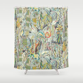 hairspray jungle Shower Curtain
