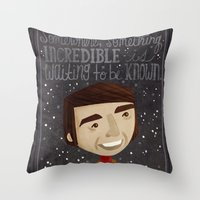 carl sagan Throw Pillows featuring Carl Sagan by Stephanie Fizer Coleman