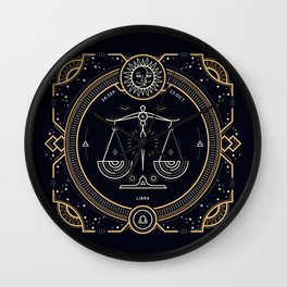 Libra Zodiac Golden White on Black Background Wall Clock