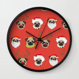 Xmas Pugs Wall Clock
