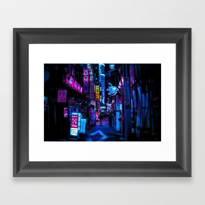 Tokyo's Moody Blue Vibes Gerahmter Kunstdruck