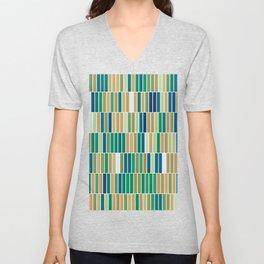 Bookshelves, abstract illustration of vertical bars Unisex V-Neck