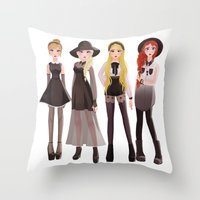coven Throw Pillows featuring Coven by archibaldart