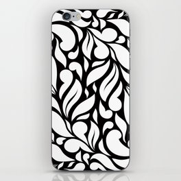 Abstract Leaves - Black and White iPhone Skin