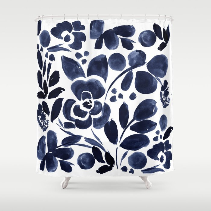 Navy Floral Shower Curtain By Crystalwalen