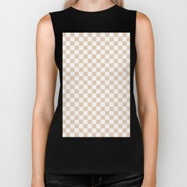 Small Checkered - White and Pastel Brown Biker Tank