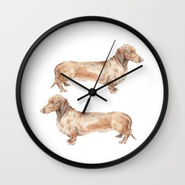 A long dog: Dachshund doxie puppy dog watercolor pet portrait Wall Clock
