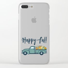 Happy Fall Vintage Pumpkin Truck Clear iPhone Case